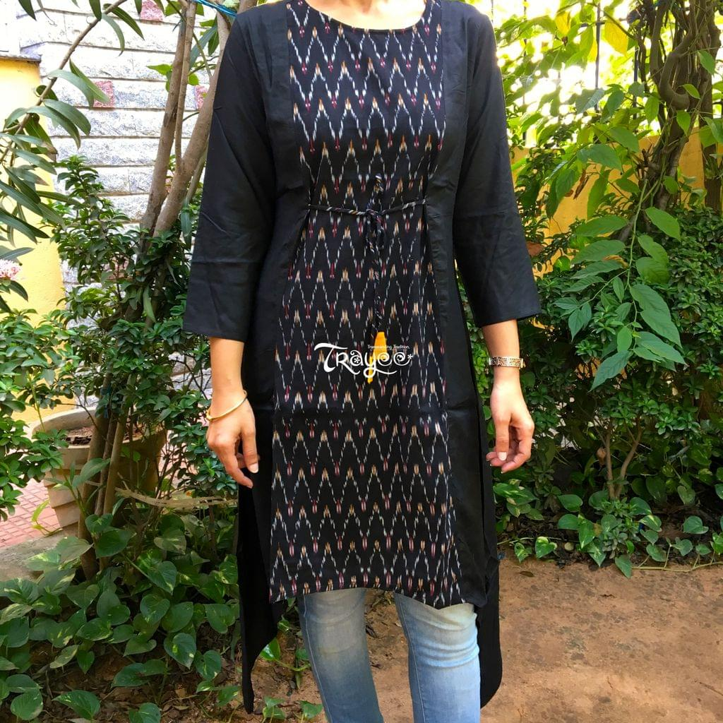 Trayee Black Cotton Ikat Kurta