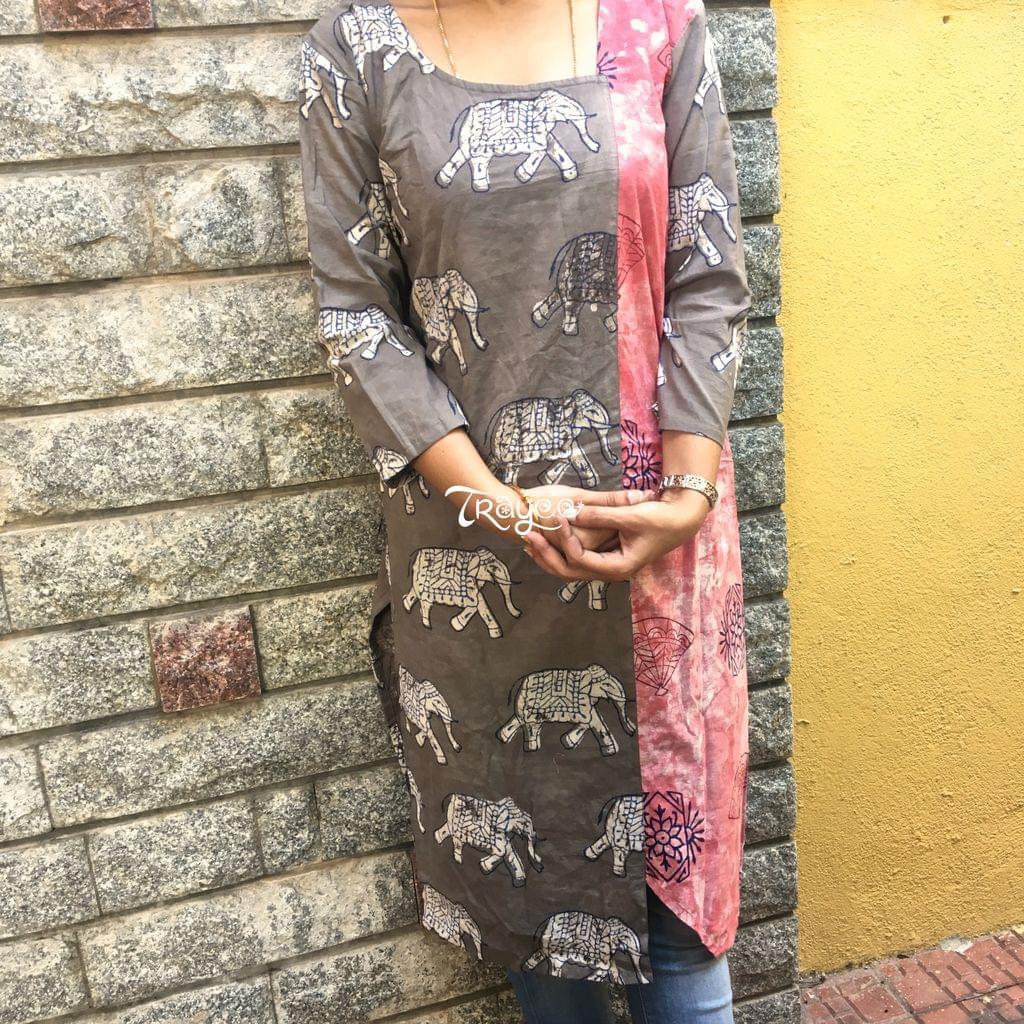 Trayee Brown Cotton Kurta with Vegetable Dye Printed Size M