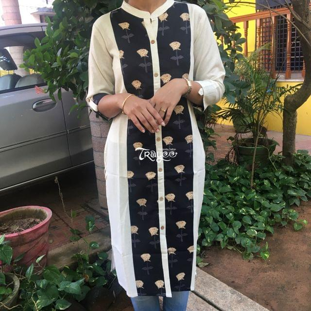 Trayee White Cotton Kurta with Block Printed Patch