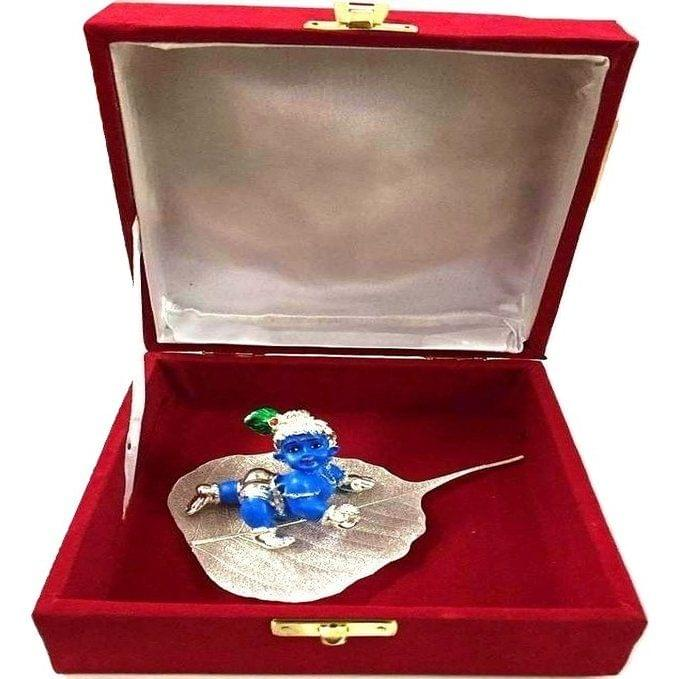 Smile Decors Silver Plated Lord Krishna Idol On Pipal Leaf