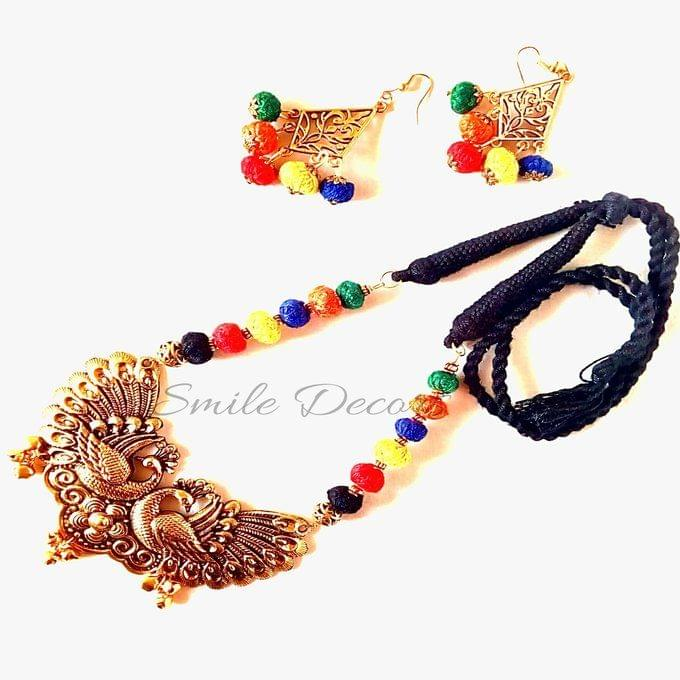 Smile Decors Antique Gold Peacock Pendant Jewellery Set