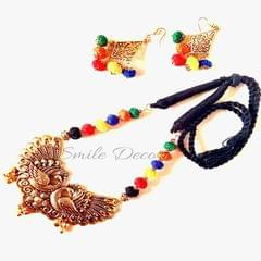 Smile Decors Antique Gold Peacock Pendant Jewellery Set