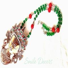 Smile Decors German Silver Durga Pendant with Agate and Carved Beads
