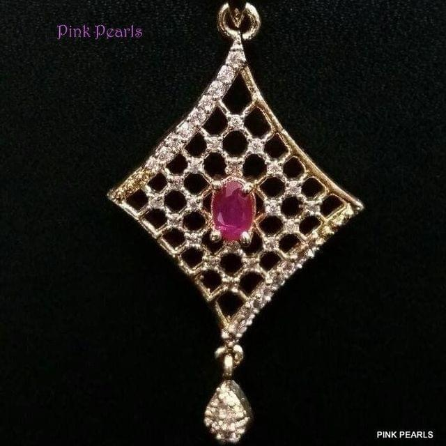 Pink Pearls Mirco Gold Zircon Pendant with Ruby
