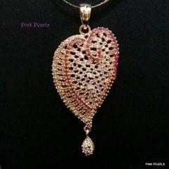 Pink Pearls Heart-Shaped Zircon Pendant with Ruby Red Stones