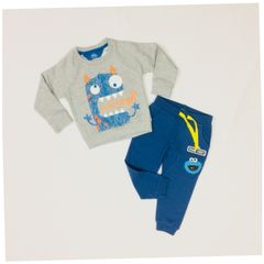 Little Bitty Boy's Grey Cotton Monster Set for Age 1.5 Years