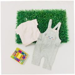 Little Bitty Girl's Grey Meow Romper Set for Age 3-4 months