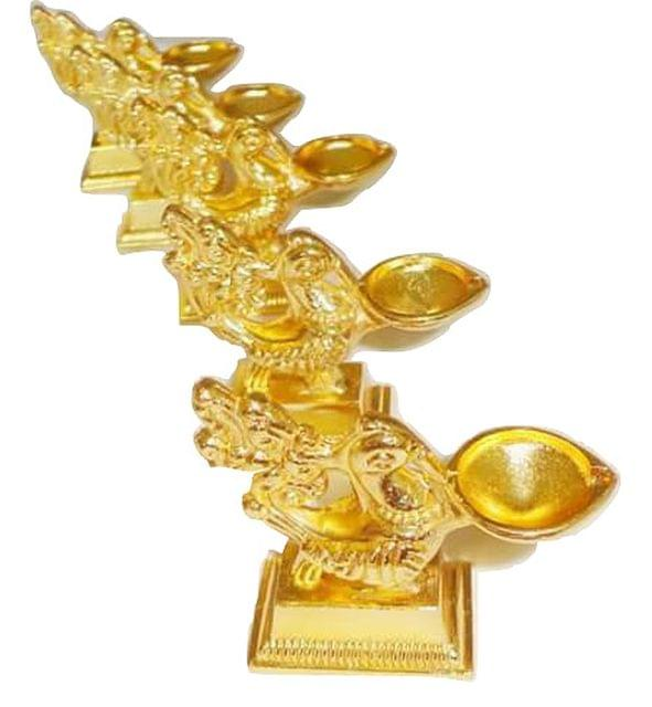 Smile Decors Peacock Diya Gold Finish From Pack of 25