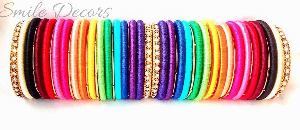 Smile Decors Silk Thread Rainbow Bangles