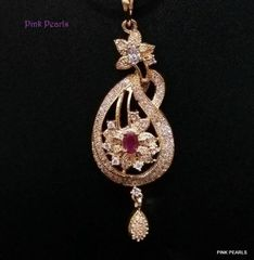 Pink Pearls White Elegant Zircon Pendant with Ruby Stones