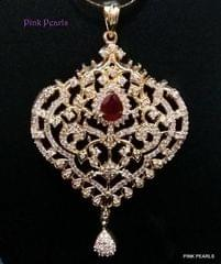 Pink Pearls White Zircon Pendant with Ruby Stones