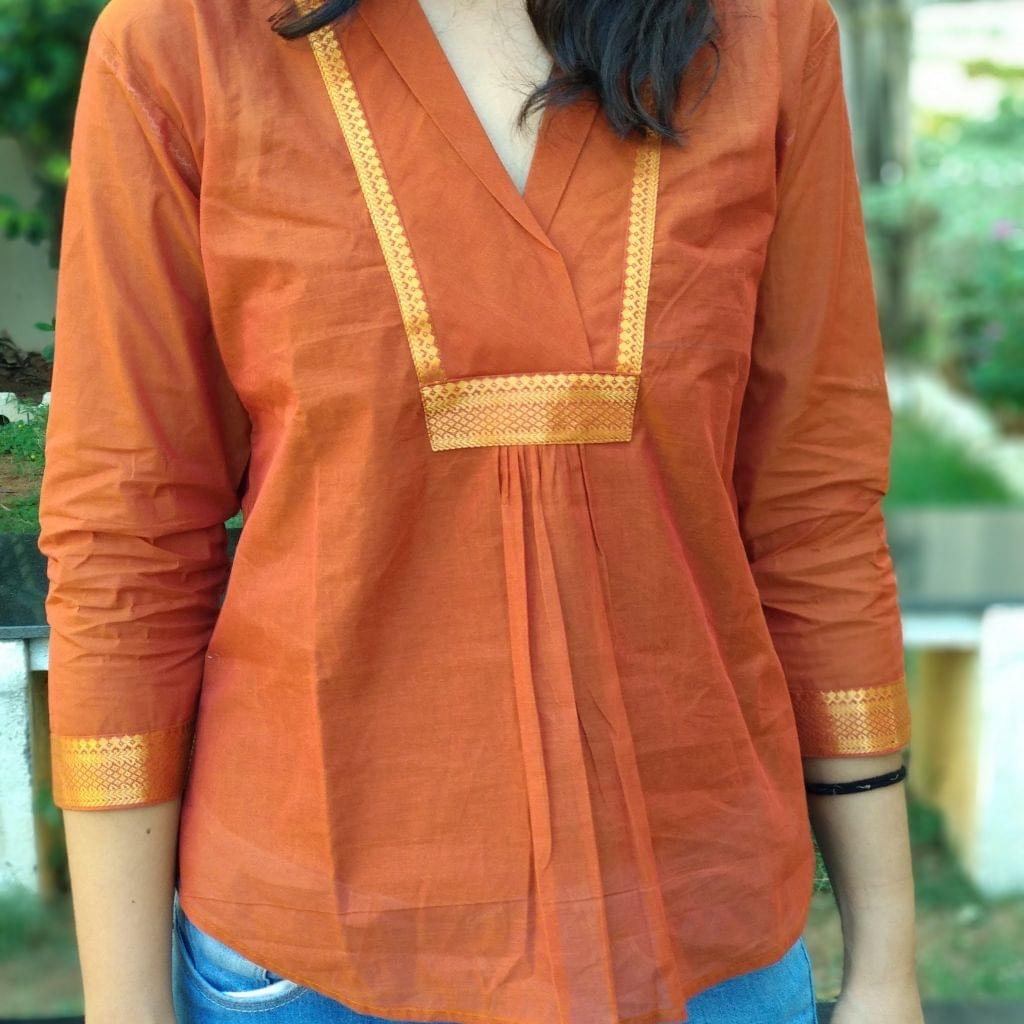 Trayee Mustard Mangalagiri Cotton Short Top