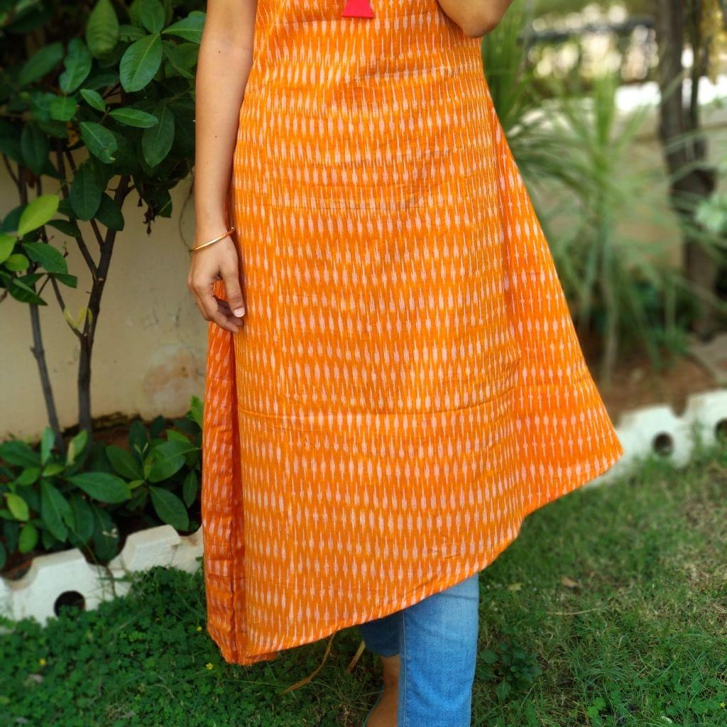Trayee Orange Ikat Asymmetrical Kurta