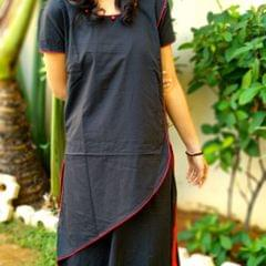 Trayee Black and Red Flared Kurta