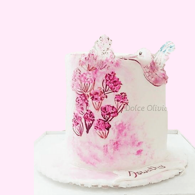Dolce Olivia Humming Bird and Flowers Cake (1kg)