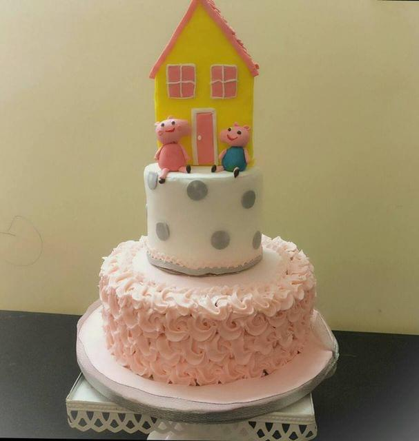 Dolce Olivia Peppa Themed Cake with Pink Pastel Rossets (3kgs)