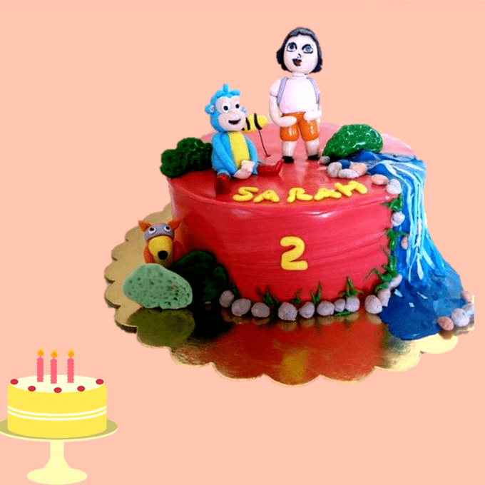 Dolce Olivia Dora Theme Cake with Waterfalls (1kg)
