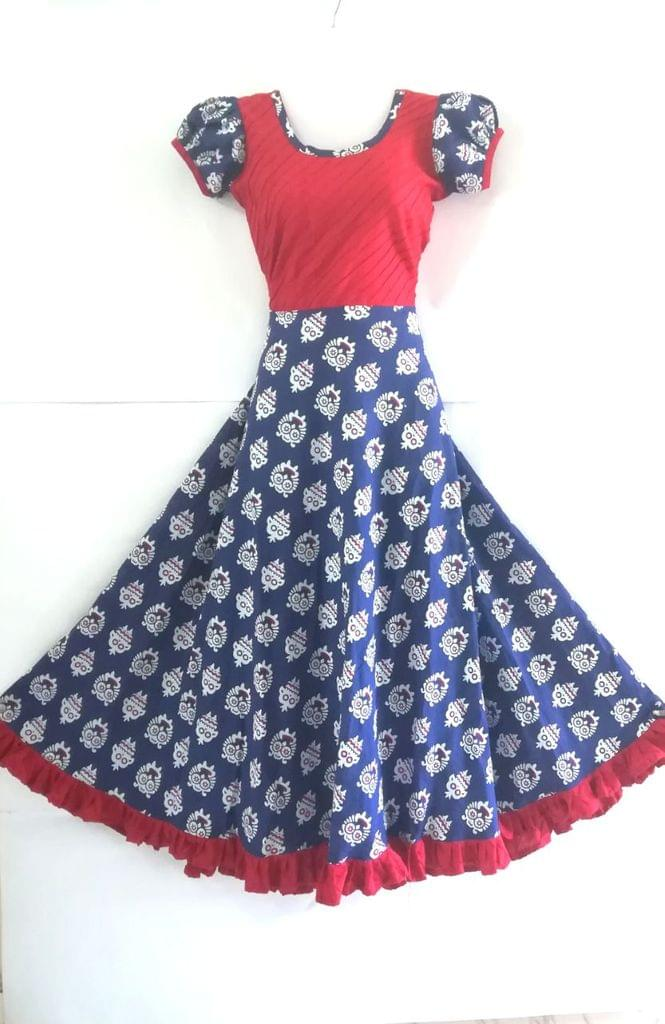 Aarika Customised Jaipuri Long Gown with Tribal Print