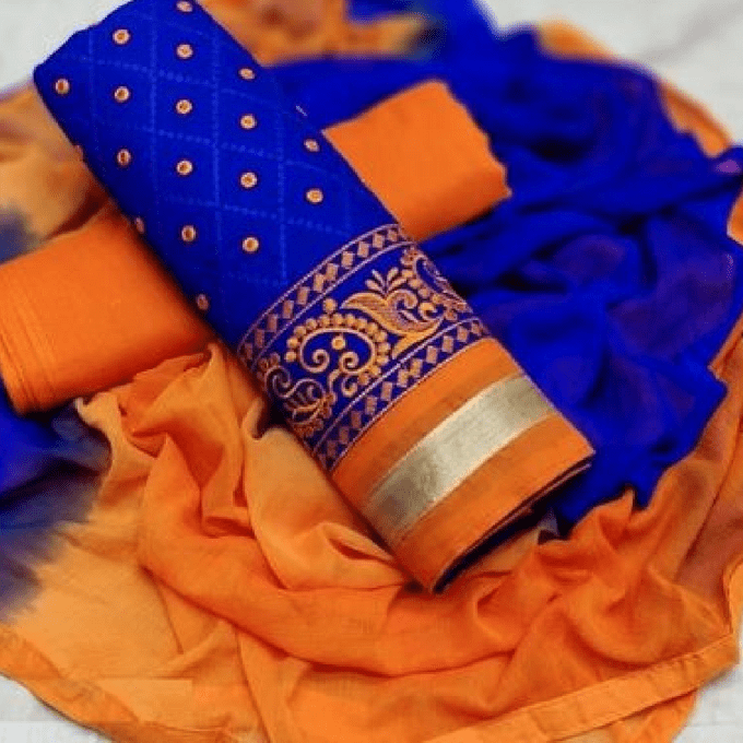 Aarika Blue Cotton Thread Embroidered Chudithar Material