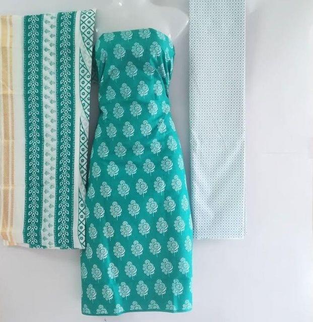 Aarika Light Sea Green Cotton Chudithar Material