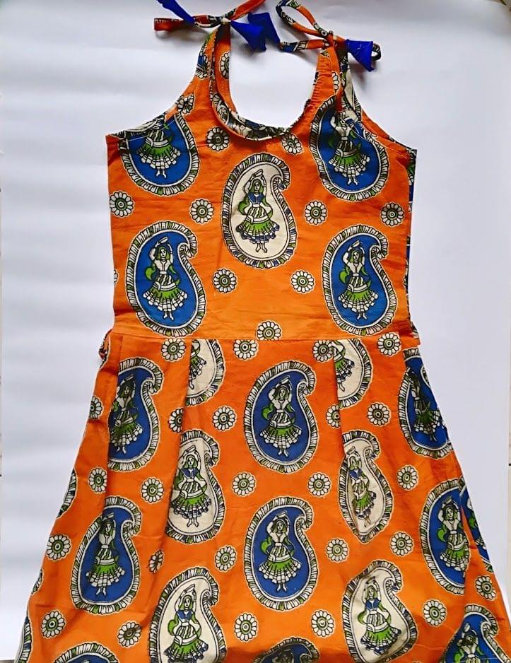Aarika Kalamkari Orange Naachni Cotton Frock for Age 7-8 years