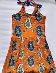 Aarika Kalamkari Orange Naachni Summer Frock for Age 7-8 years