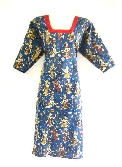 Aarika Blue Kalamkari Cotton Kurta