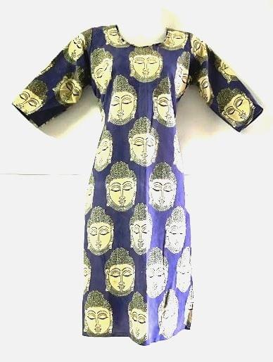 Aarika Blue Kalamkari Cotton Kurta with Buddha Prints