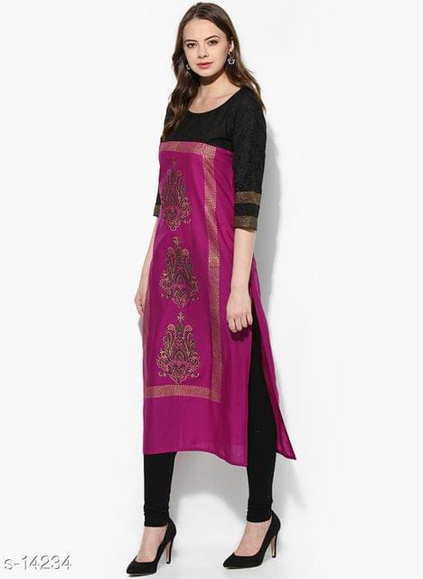 Aarika Purple Block Printed Cotton Kurta