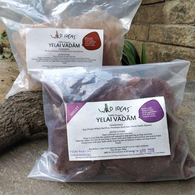 Wild Ideas Organic Yelai Vadam - Red Rice and Ragi (Finger Millet) Combo