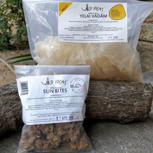 Wild Ideas Organic Vadam -  Thinai (Foxtail Millet) Yelai Vadam and White Rice (Rice Red Chilli) Vadam