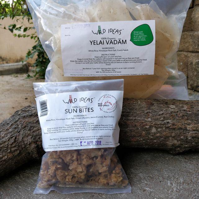 Wild Ideas Organic Vadam - White Rice Yelai Vadam and  White Rice (Rice Red Chilli) Vadam