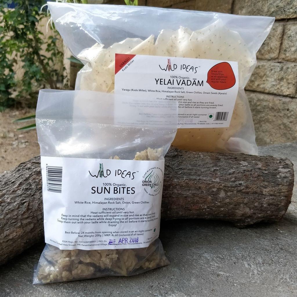 Wild Ideas Organic Vadam - Varagu (Kodo Millet) Yelai Vadam and  White Rice (Onion Green Chilli) Vadam