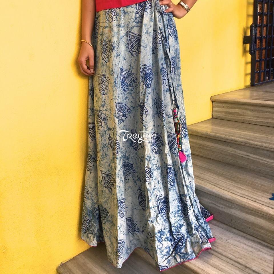 Trayee Indigo Cotton Long Skirt