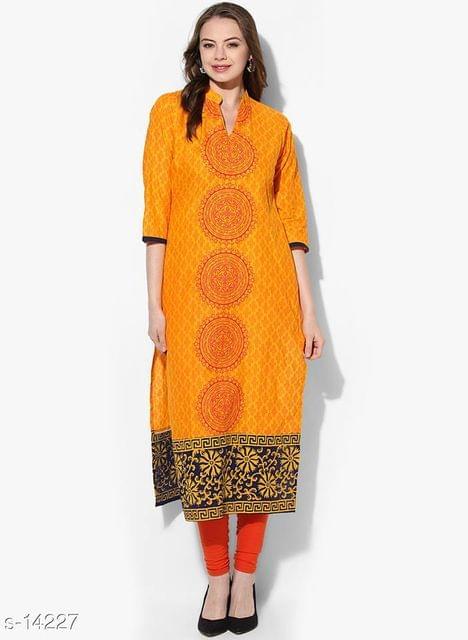 Aarika Yellow Cotton Block Printed Kurta
