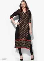 Aarika Black Cotton Blocked Printed Kurta