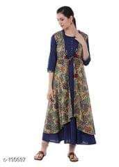 Aarika Blue Kalamkari Layered Kurta