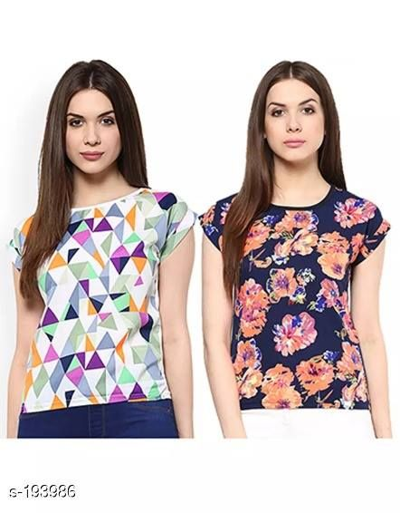 Aarika Printed Polyester Readymade Set of Two Short Tops