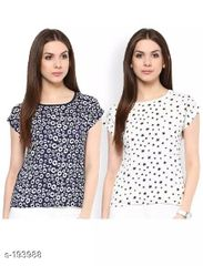 Aarika Printed Polyester Set of Two Short Tops