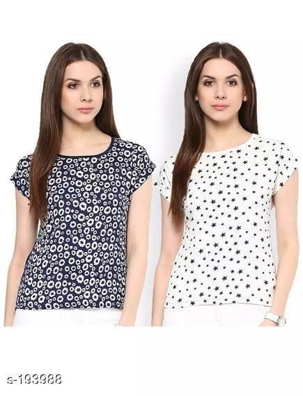 Aarika Printed Polyester Set of Two Short Tops