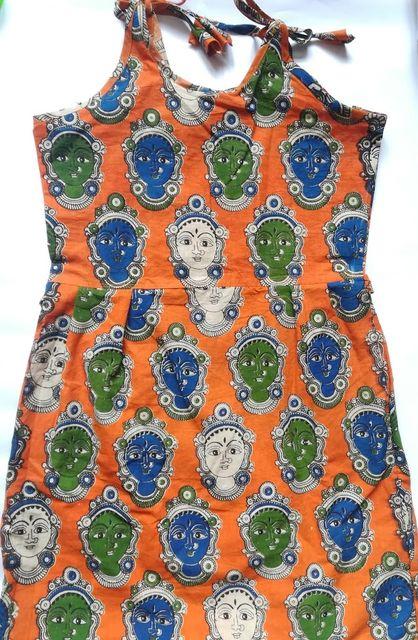 Aarika Kalamkari Orange Devi Cotton Frock for Age 8-9 years