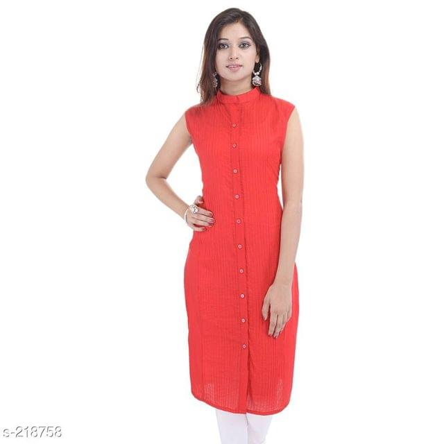 Aarika Red Mandarin Collared Cotton Kurti