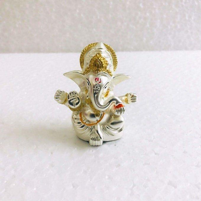 Smile Decors Matt Finish Silver/Gold Plated Ganesha Idol