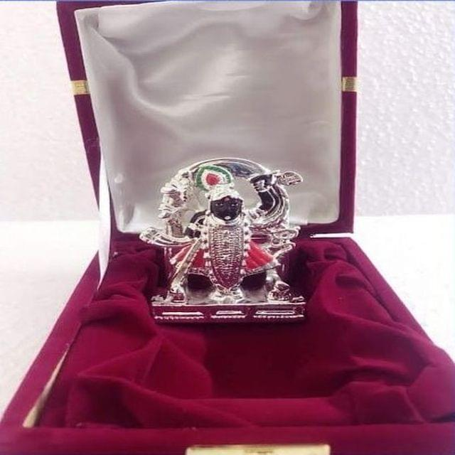 Smile Decors Silver Plated Lord Shrinath Idol