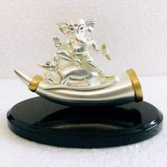 Smile Decors Silver Plated Ganesha on Mouse in Wooden Base
