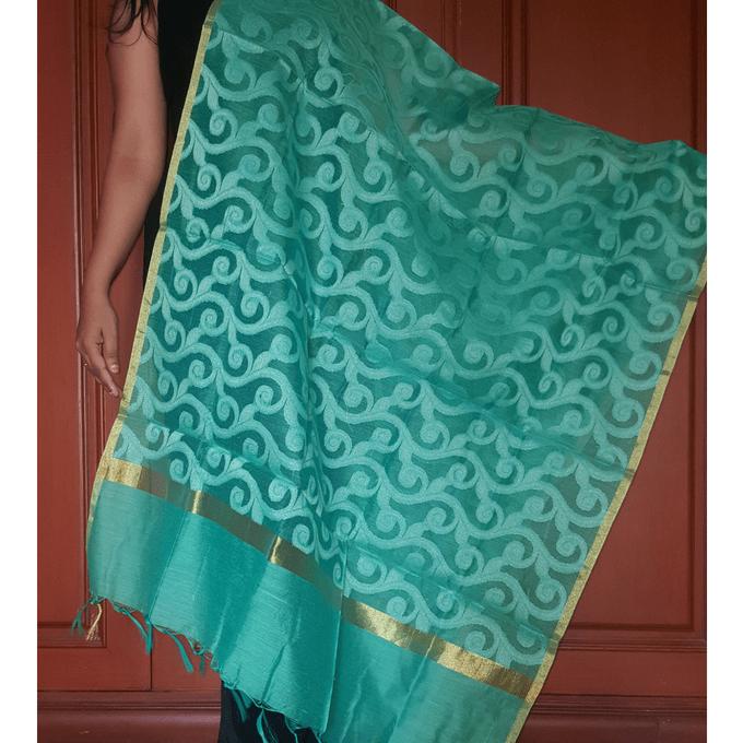 Kadaiveedhi Jaipur Silk Cotton Dupatta with Self Design