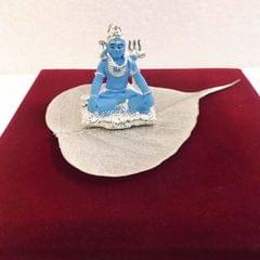 Smile Decors Silver Plated Lord Shiva Idol On Real Pipal Leaf