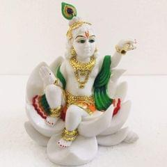 Smile Decors  Lord Krishna Idol with Gold Work