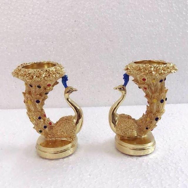 Smile Decors Silver/Gold Plated Peacock T-light Holders
