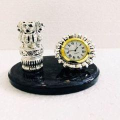 Smile Decors Silver Plated Ashok Pillar withTable Clock